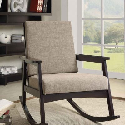 Beige Simple Wood Rocking Chair Design With Gray Fabric Bench Seat Ideas
